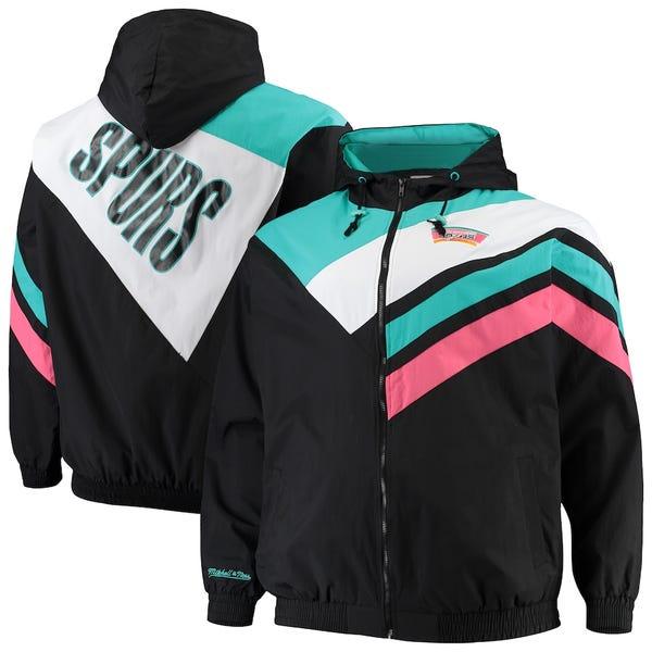 Men's San Antonio Spurs Mitchell & Ness Black/Teal Big & Tall Hardwood Classics Asymmetrical Full-Zip Raglan Hoodie Jacket