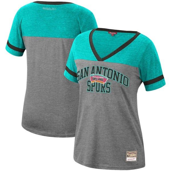 Women's San Antonio Spurs Tim Duncan Mitchell & Ness Heathered Charcoal Team Captain V-Neck T-Shirt