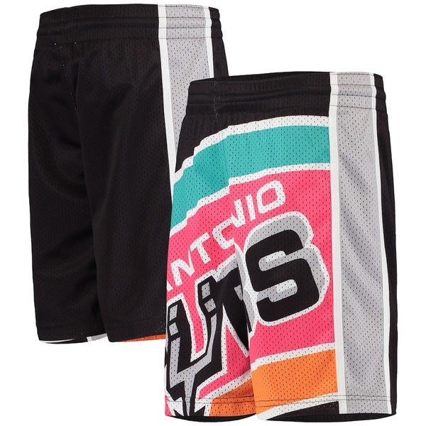 Youth Mitchell & Ness Black San Antonio Spurs Big Face Shorts