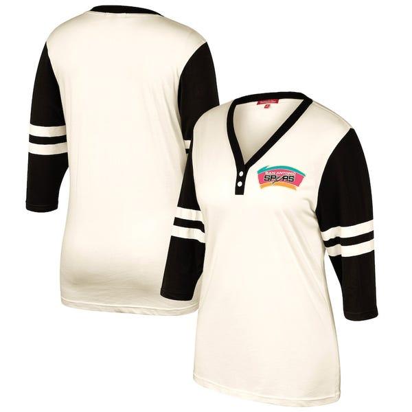 Women's San Antonio Spurs Mitchell & Ness Cream Shoot Out V-Neck 3/4 Sleeve T-Shirt