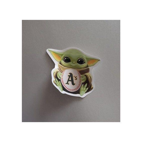 Baby Yoda with Oakland A's Baseball Sticker