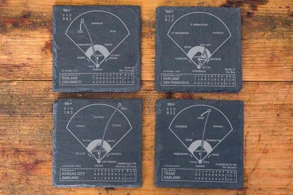 Greatest Athletics Plays: Slate Coasters