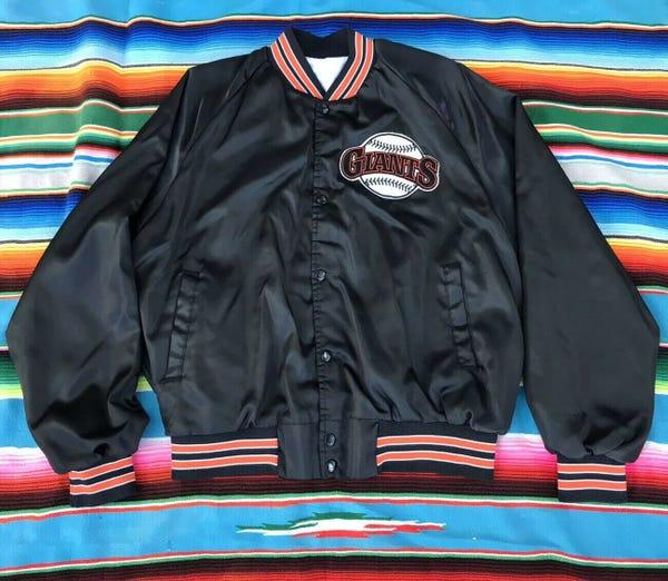 Vintage San Francisco Giants Chalkline Black Satin Bomber Jacket