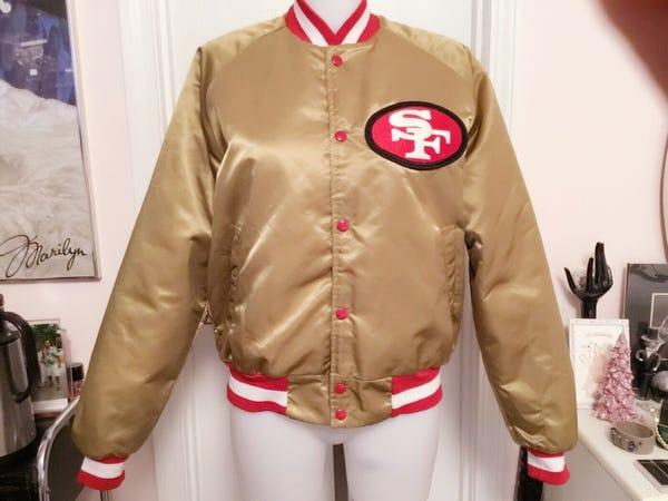 San Francisco 49ers Chalkline Satin Bomber Vintage Jacket