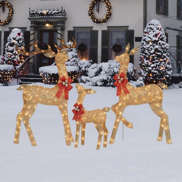 Holiday Time Light-up Glitter Deer Family
