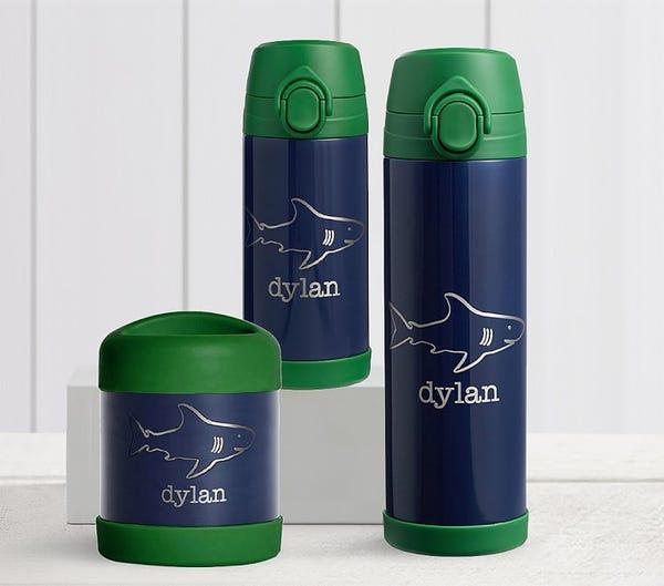 Mackenzie Navy Green Trim Solid Water Bottles