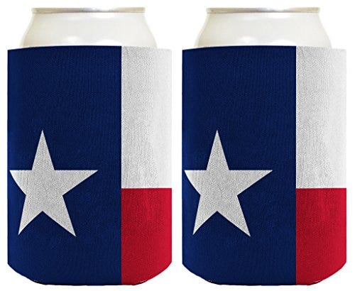 Funny Can Coolie Texas Flag Lone Star State Pride 2 Pack Can Coolie Drink Coolers Coolies Texas Flag