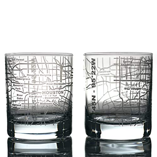 Greenline Goods Whiskey Glasses - 10 Oz Tumbler Gift Set for Houston lovers, Etched with Houston Map | Old Fashioned Rocks Glass - Set of 2