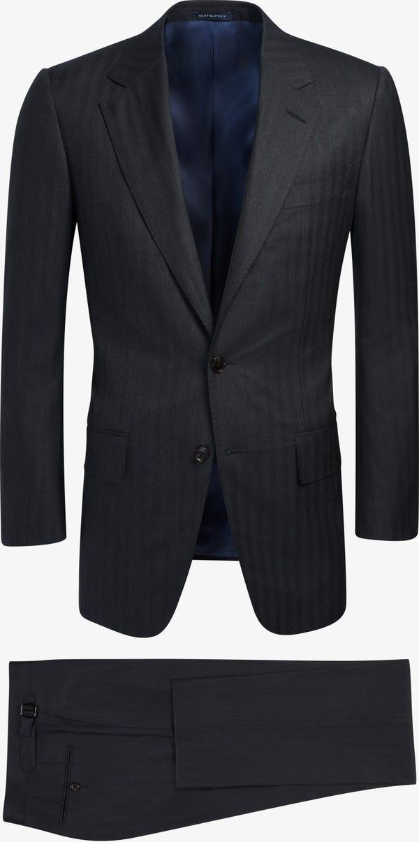 Dark Grey Herringbone Washington Suit