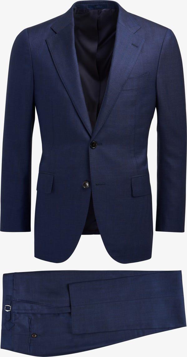 Navy Herringbone Lazio Suit (Full Canvas)