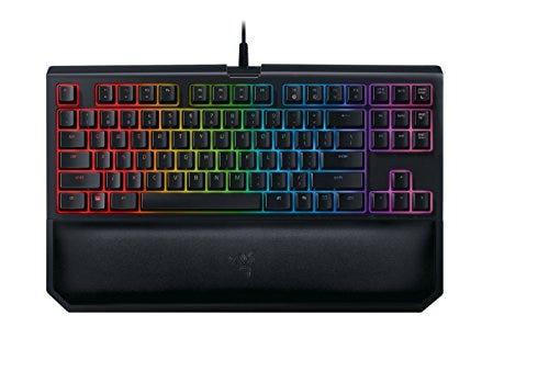Razer BlackWidow TE Chroma v2 TKL Tenkeyless Mechanical Gaming Keyboard: Green Key Switches, Tactile & Clicky, Chroma RGB Lighting, Magnetic Wrist Rest, Programmable Macros, Classic Black