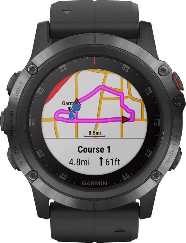 Garmin Fēnix 5X Plus Sapphire Smart Watch - Fiber-Reinforced Polymer - Black with Black Band