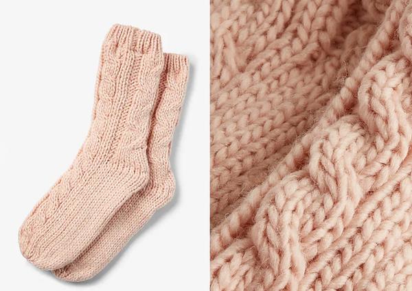 Fleece Lined Cable Knit Socks