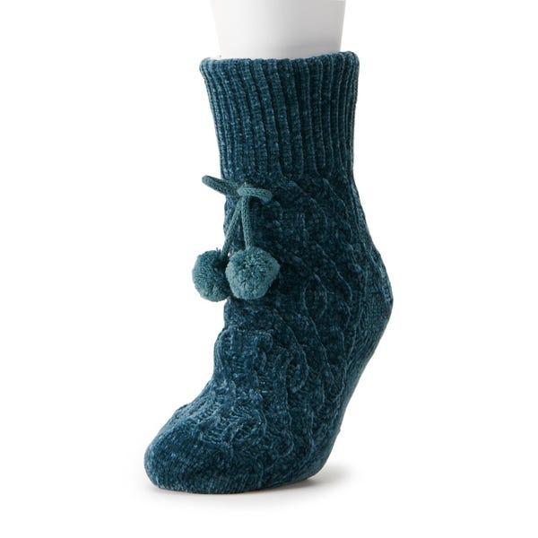 Women's LC Lauren Conrad Chenille Cable Slipper Sock with Poms