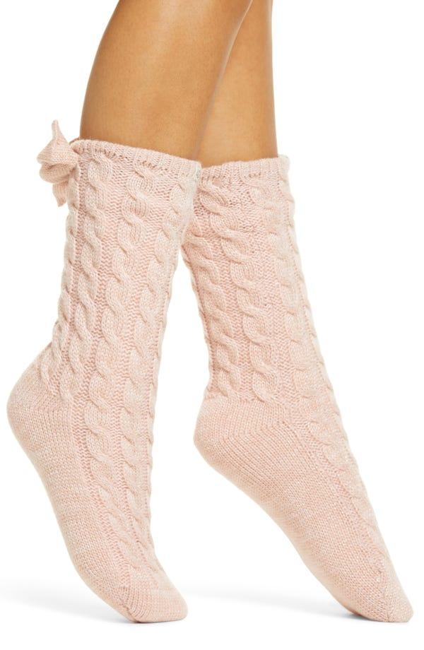 Laila Bow Fleece Lined Socks