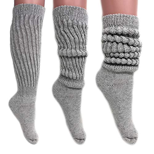 Women's Extra Long Heavy Slouch Cotton Socks Size 9 to 11 (3 Pairs - Gray)
