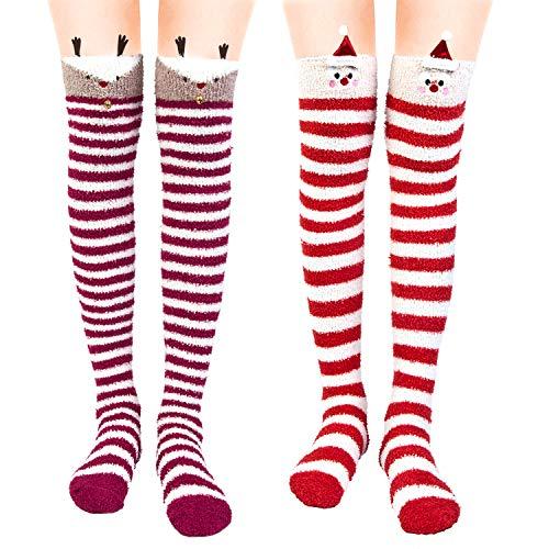 Womens Over Knee High Fuzzy Socks Cute Cozy Warm Socks Fluffy Leg Warmers
