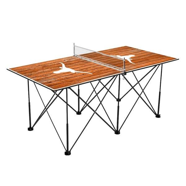 Texas Longhorns 6' Weathered Design Pop Up Table Tennis Set