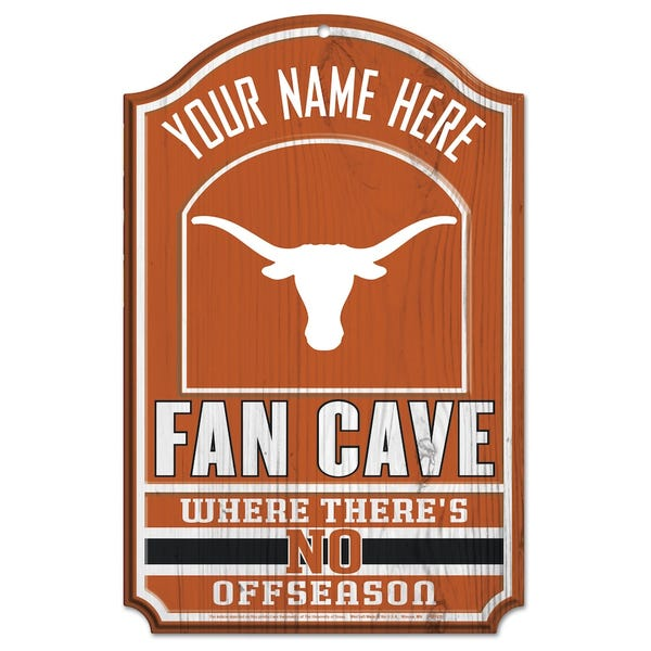Texas Longhorns WinCraft Personalized 11'' x 17'' Fan Cave Wood Sign