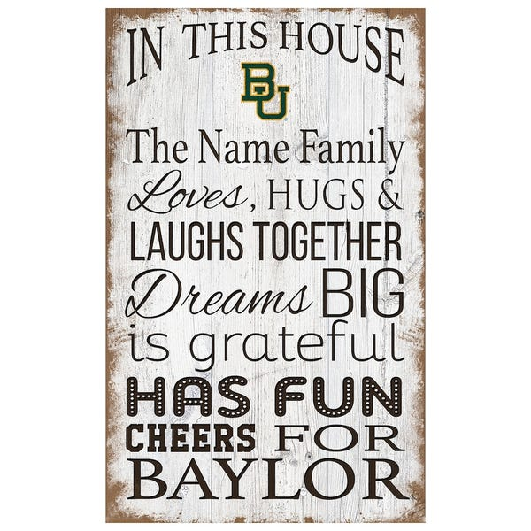 """Baylor Bears Personalized 11"""" x 19"""" In This House Sign"""
