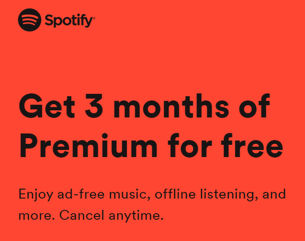 Spotify Premium Subscription with 3 Months Free Holiday Offer