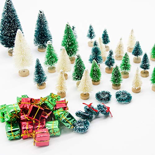 Iceyyyy 56 Pcs Artificial Mini Christmas Trees Set