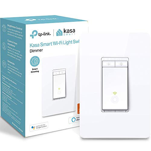 Kasa Smart HS220 Dimmer Switch by TP-Link, Single Pole, Needs Neutral Wire, Wi-Fi Light Switch for LED Lights, Works with Alexa and Google Assistant, UL Certified, 1-Pack