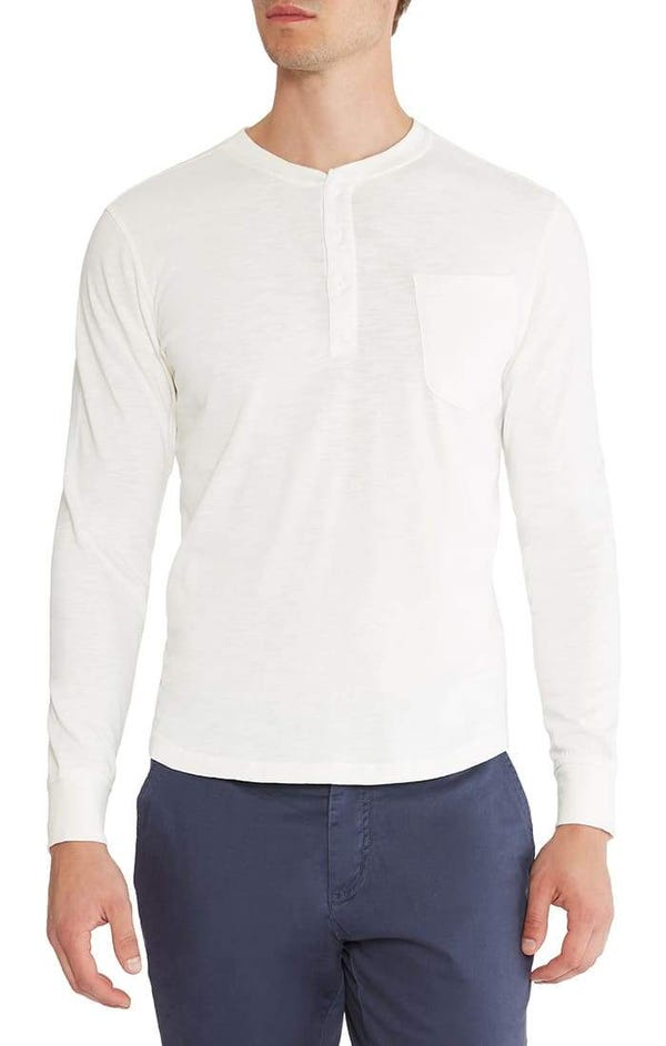 White Slub Cotton Long Sleeve Henley