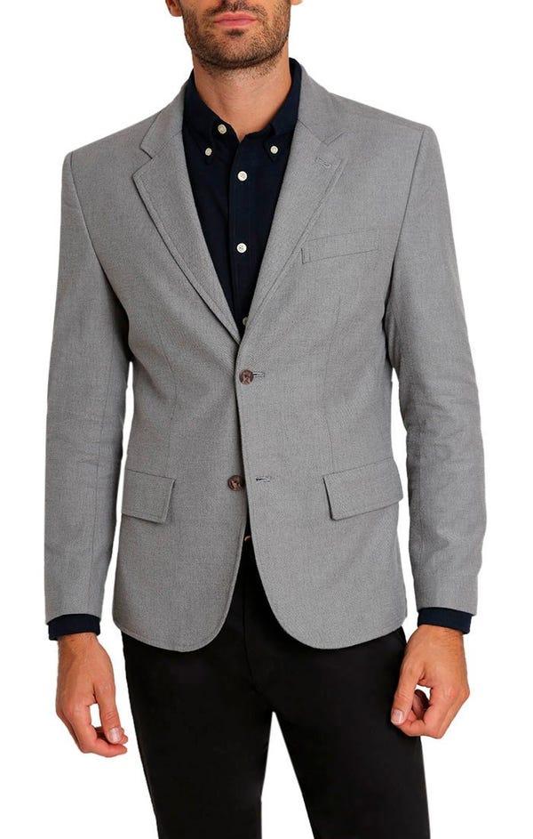 Light Grey Stretch Cotton Flannel Blazer