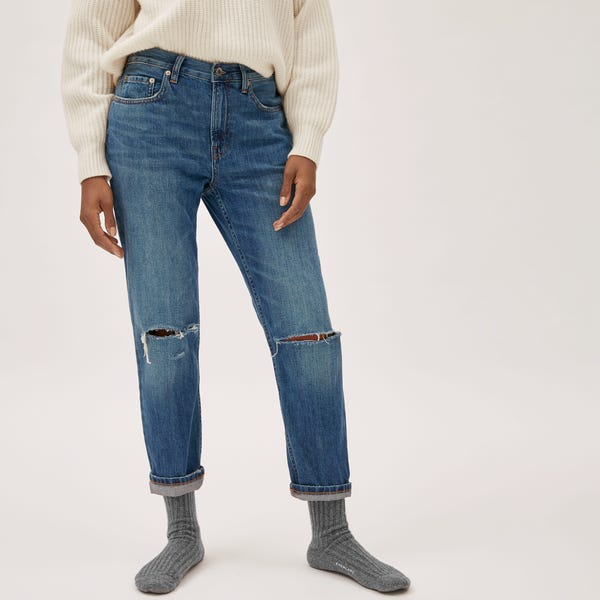 The Super-Soft Relaxed Jean - Distressed Indigo