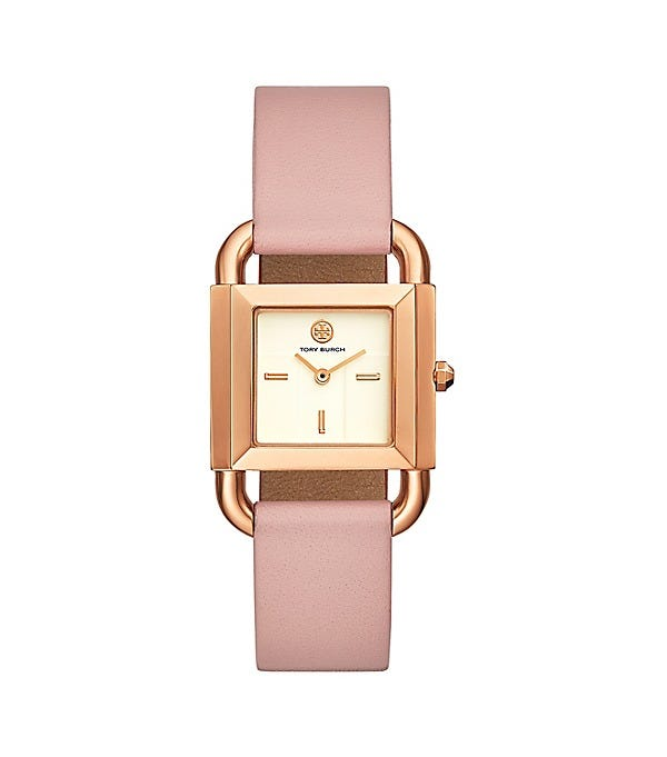 Phipps Watch, Pink Leather/Rose Gold-Tone, 29 X 42 MM