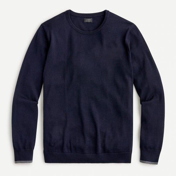 Slim washable merino wool tipped sweater