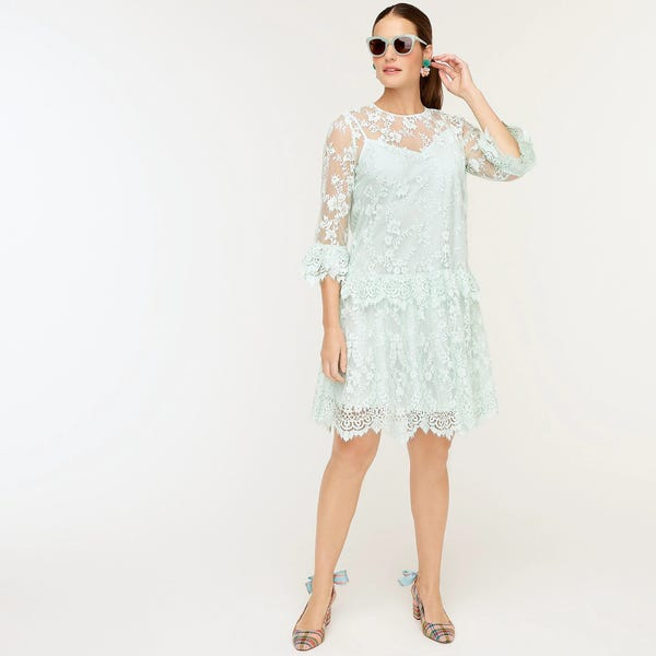 Three-quarter-sleeve dress in chantilly lace