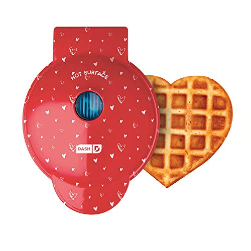 Dash Machine for Individual, Paninis, Hash Browns, & other Mini waffle maker, 4 inch, Red Love Heart