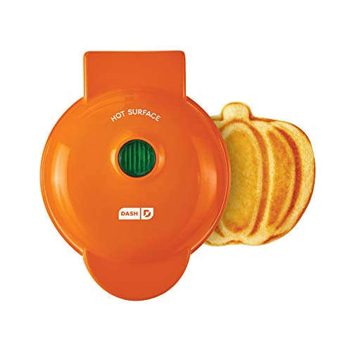 Dash Machine for Individual, Paninis, Hash Browns, & other Mini waffle maker, 4 inch, Orange Pumpkin