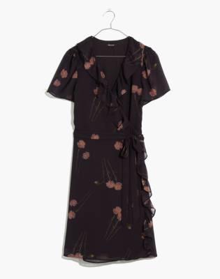 Georgette Ruffle-Wrap Mini Dress in Aster Portrait