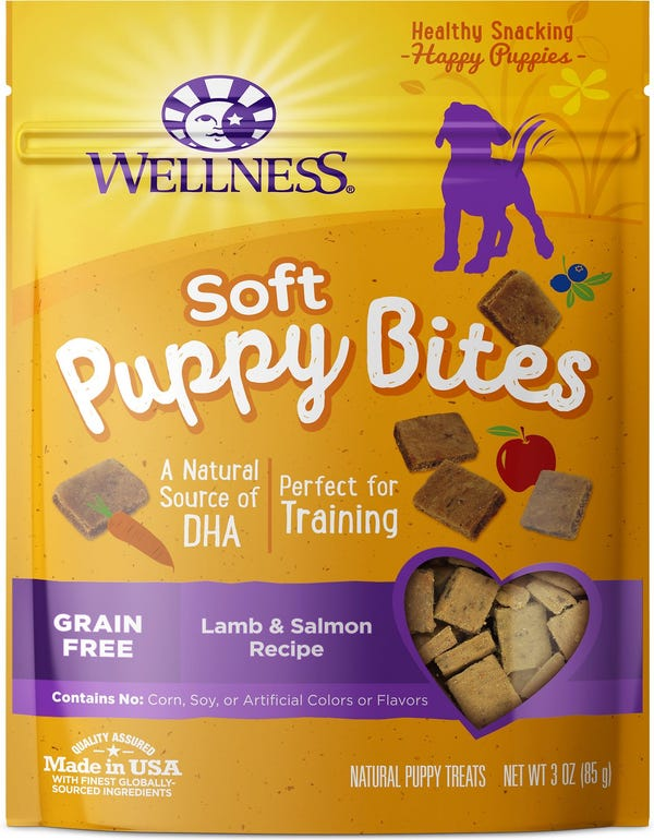 Wellness Soft Puppy Bites Lamb & Salmon Recipe Grain-Free Dog Treats, 3-oz