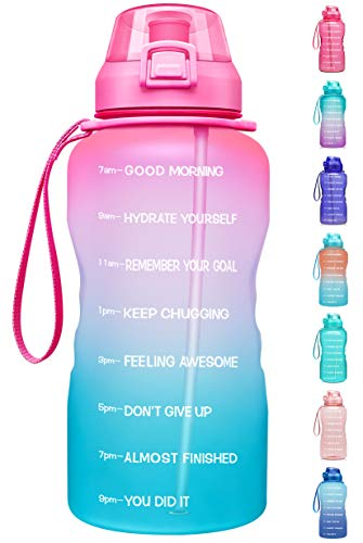 Fidus Large 1 Gallon/128oz Motivational Water Bottle with Time Marker & Straw