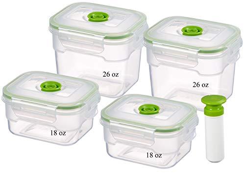Lasting Freshness 9 Piece Vacuum Seal Food Storage Container Set