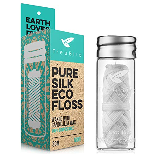 Biodegradable Dental Floss with a Refillable Glass Holder