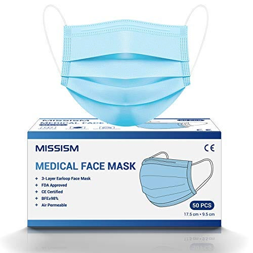 Medical Grade Face Mask, MISSISM Disposable 3 Layer Breathable Mask, Elastic EarLoop and Metal Nose Wire Clip for Adult Women Teens, 50 PCS