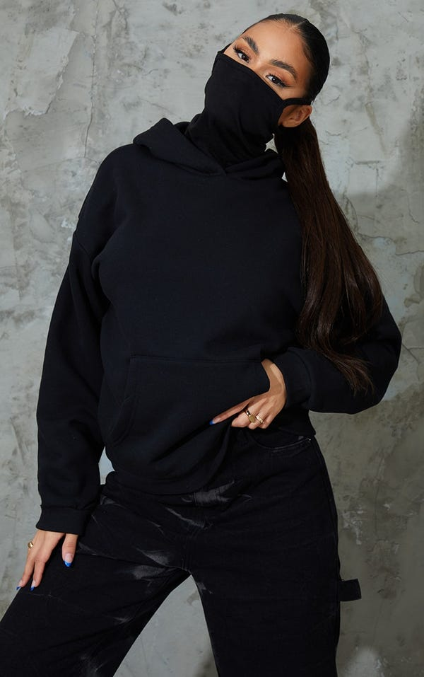 Black Oversized Mask Hoodie