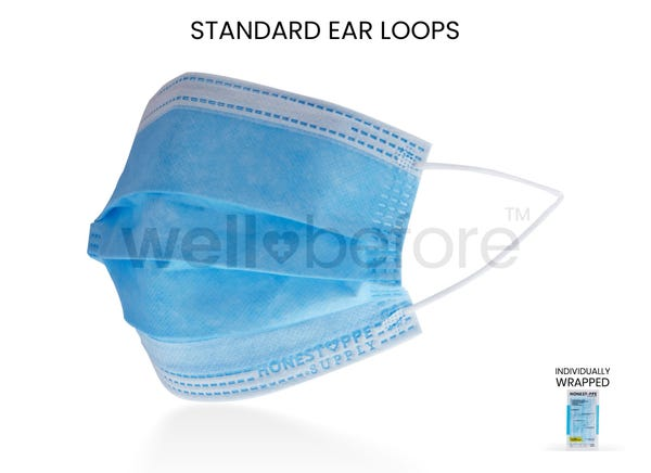 WellBefore 3 PLY Disposable Face Masks - Individually Wrapped
