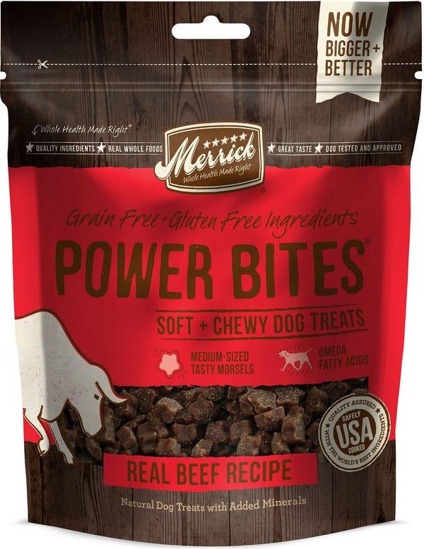 Merrick Power Bites Real Texas Beef Recipe Grain-Free Soft & Chewy Dog Treats