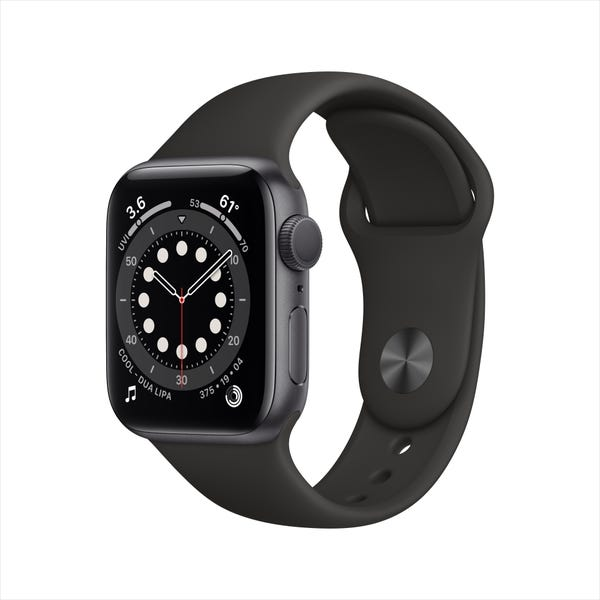 Apple Watch Series 6 GPS, 40mm Space Gray Aluminum Case with Black Sport Band