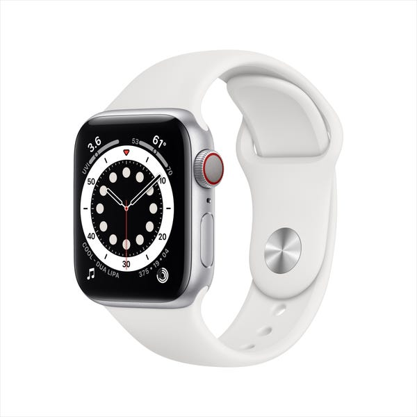 Apple Watch Series 6 (GPS + Cellular, 40mm) Silver Aluminum Case with White Sport Band