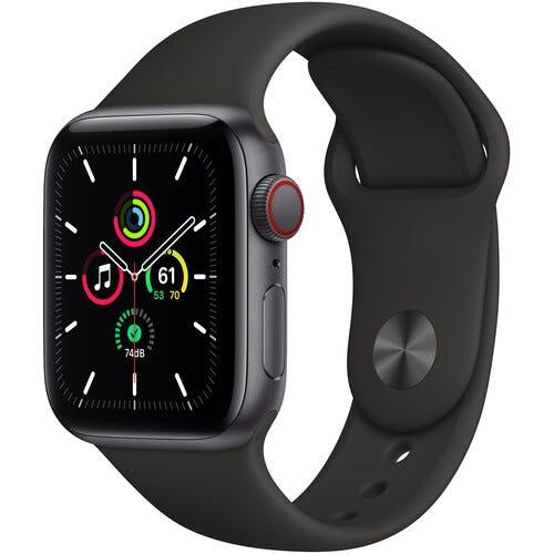 Apple Watch SE (GPS + Cellular, 40mm, Space Gray Aluminum, Black Sport Band)