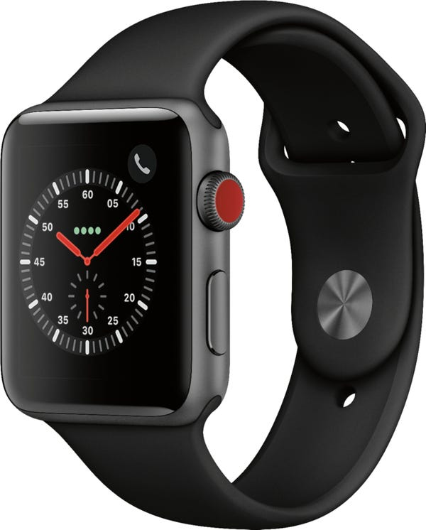 Apple Watch Series 3 (GPS + Cellular) 42mm Space Gray Aluminum Case with Black Sport Band - Space Gray Aluminum