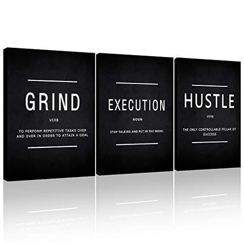 Canvas Painting Wall Art, Grind Hustle Execution Motivational Wall Art Decoration Posters Prints for Living Room Bedroom, Office Decor, Gallery-Wrapped Canvas Art Set Framed 3PCS