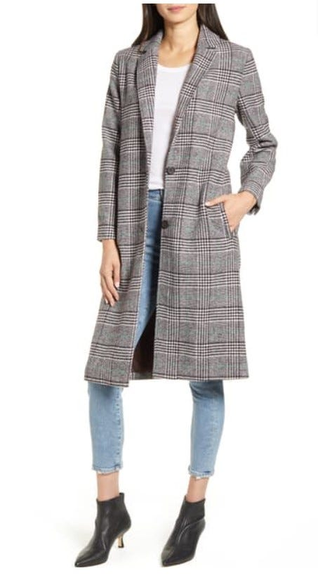 Oxford Checked Long Coat